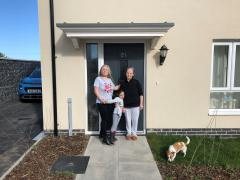 Natalia Rotaru with her daughter and mother at their new home in Marazion
